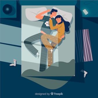침대 배경에서 밤에 자고 플랫 커플