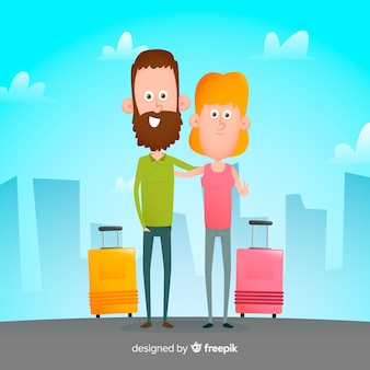 Flat couple traveling background