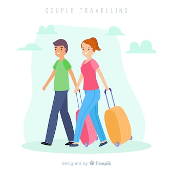 Flat couple traveling together background