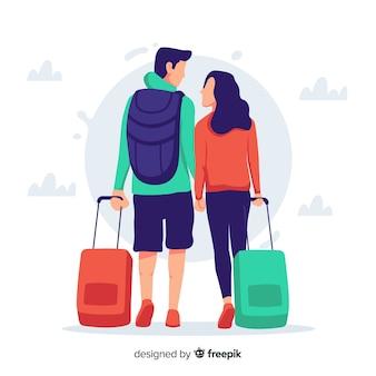 Flat couple traveling