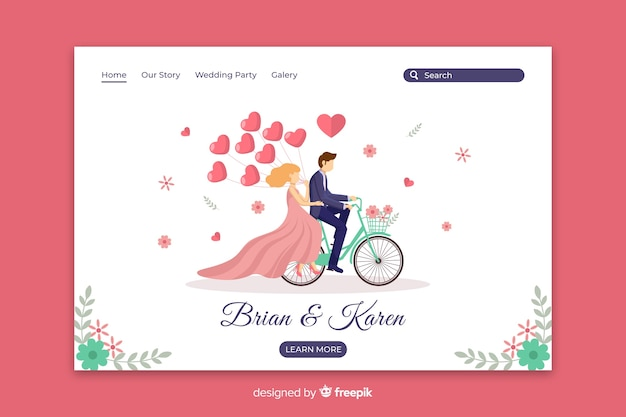 Flat couple wedding landing page