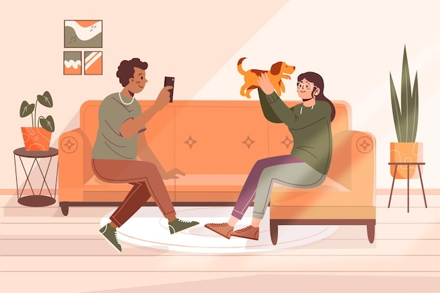Flat couple with cute dog at home