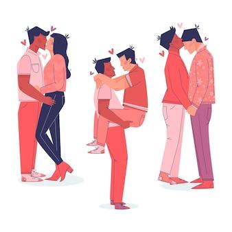 Coppie piatte che si baciano insieme