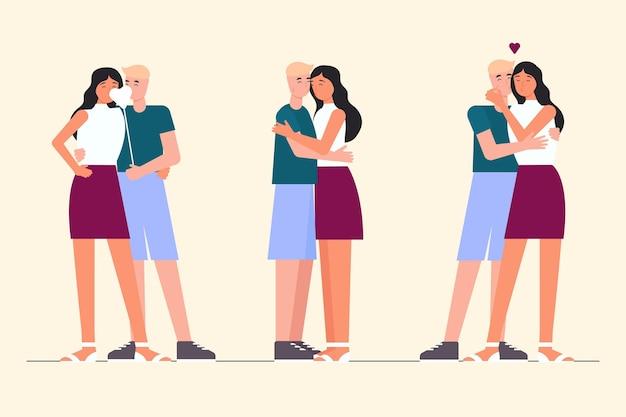 Плоские пары целуются иллюстрации