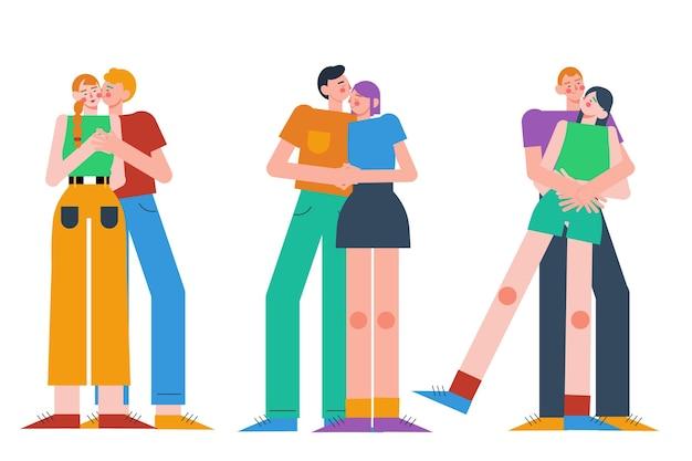 Плоские пары, целующиеся иллюстрации