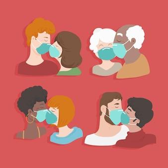 平らなカップルがcovidマスクイラストでキス
