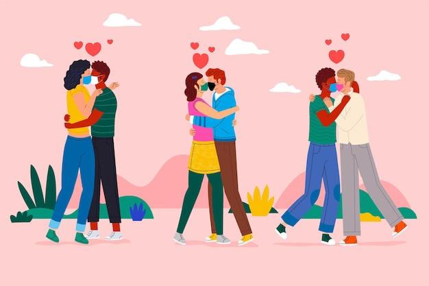 Плоские пары целуются с маской covid