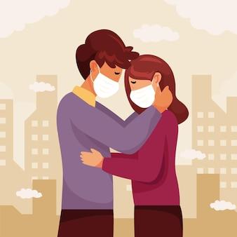 Coppie piatte che si baciano con l'illustrazione della maschera covid