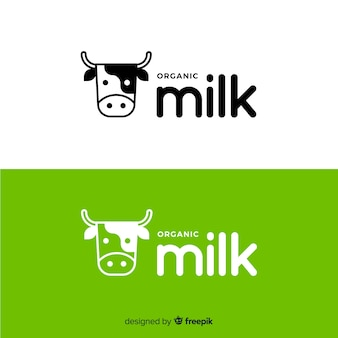 Flat cow milk logo
