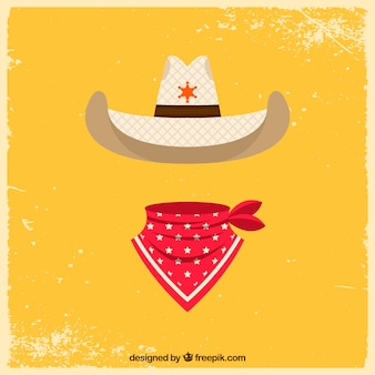 Flat cowboy hat and scarf