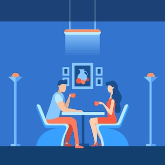 Flat coworking meeting area vector illustration.