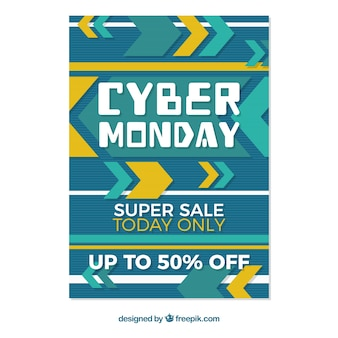 Flat creative cyber monday poster template