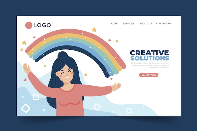 Flat creative solutions landing page template