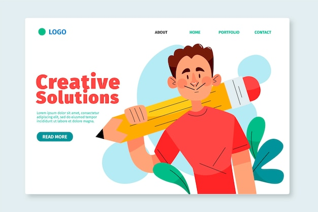Плоские креативные решения веб-шаблон