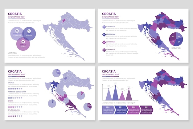 フラットクロアチア地図インフォグラフィック
