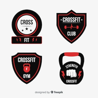 Flat crossfit logo template collection