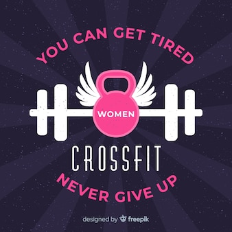 Flat crossfit motivational emblem background