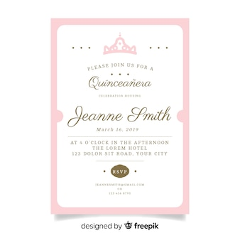 Flat crown quinceanera card template