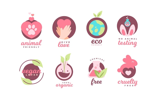 Flat cruelty free badge collection