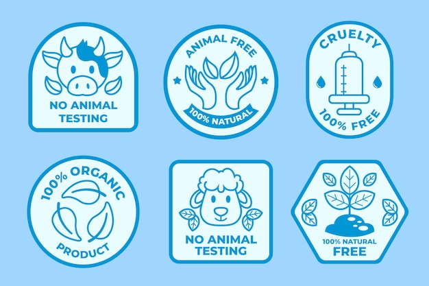 Flat cruelty free badge set