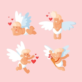 Flat cupid character pack