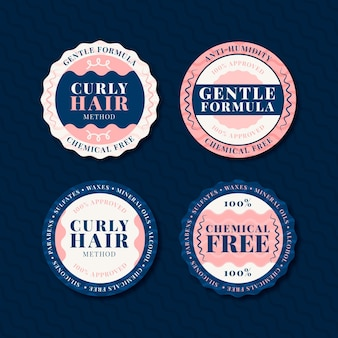 Flat curly hair method badge collection
