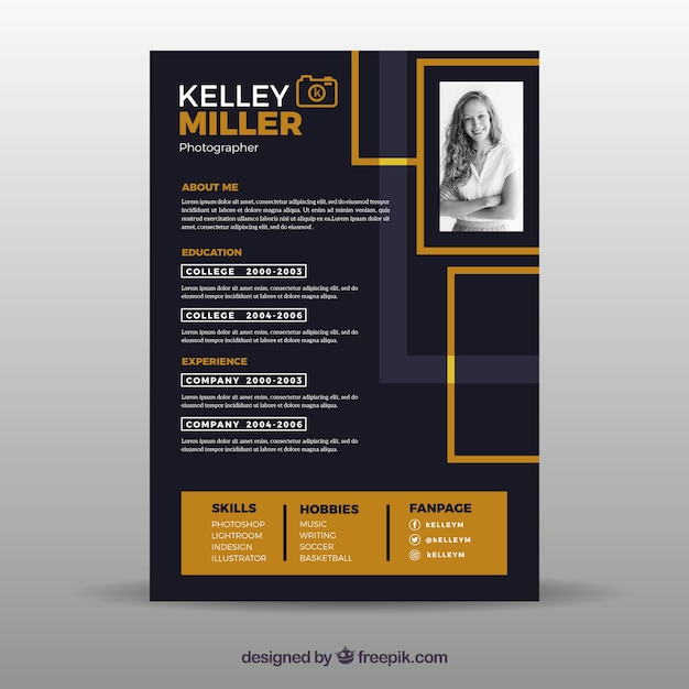 Free Flat Curriculum Vitae Template Svg Dxf Eps Png Logo