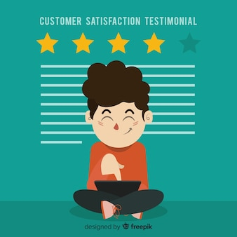 Flat customer satisfaction concept