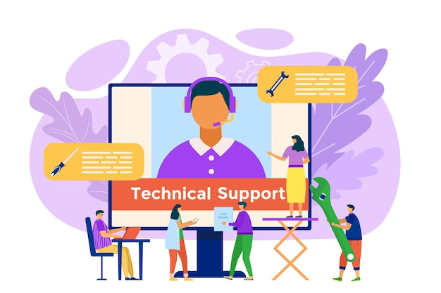 Flat customer service work support operator call illustration