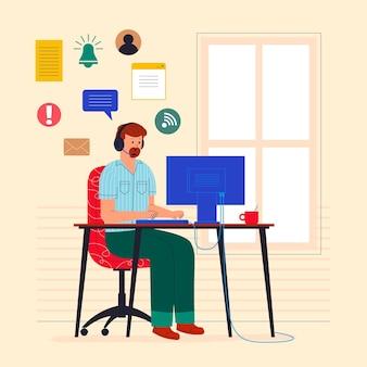 Плоская иллюстрация поддержки клиентов