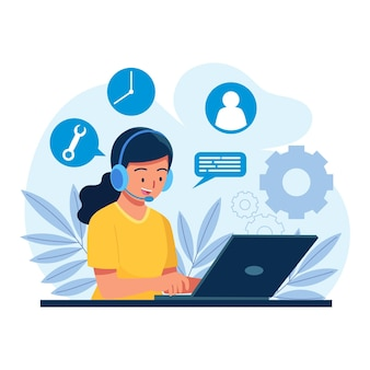 Flat customer support illustration
