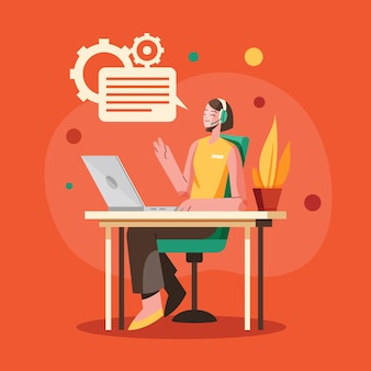 Flat customer support Free Vector