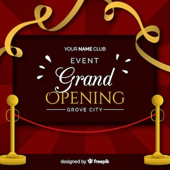 Flat cut ribbon grand opening background