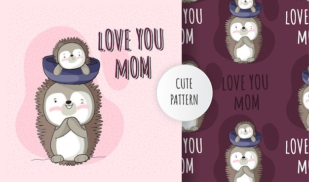 Flat cute animal baby hedgehog with mom pattern set