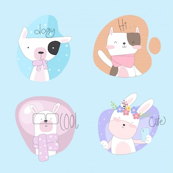 Flat cute animal collection