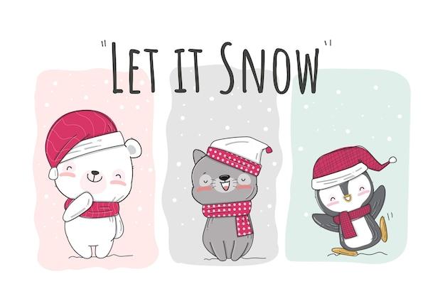雪のイラストパターンセットでフラットかわいい動物の幸せ