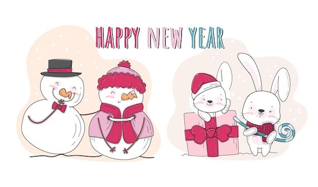 Flat cute animal happiness on snow illustration pattern set