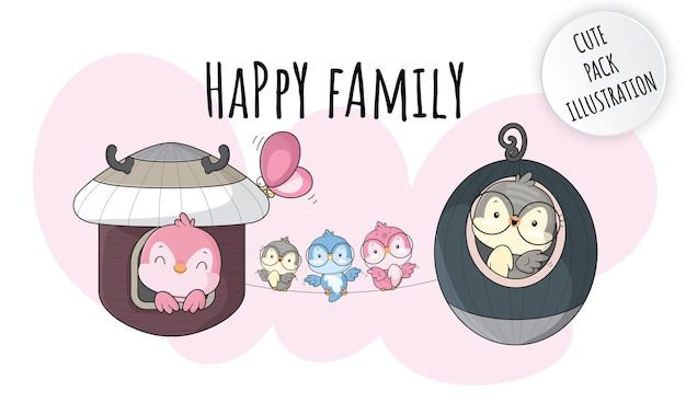 Flat cute animal happy  family birds illustrations for kids