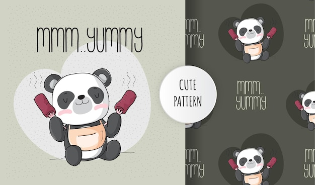 Flat cute animal happy panda eating pattern set