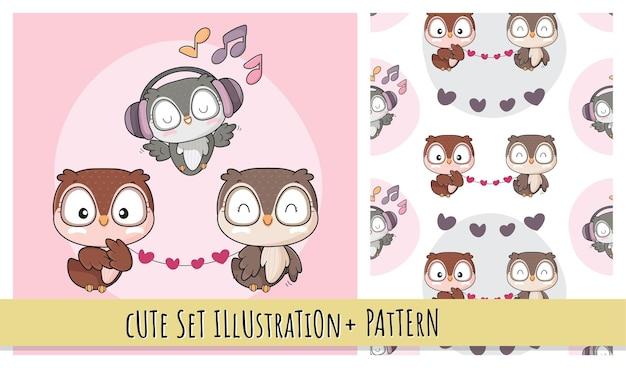 아이들을위한 가족 삽화와 함께 평면 귀여운 동물 작은 새 행복 노래