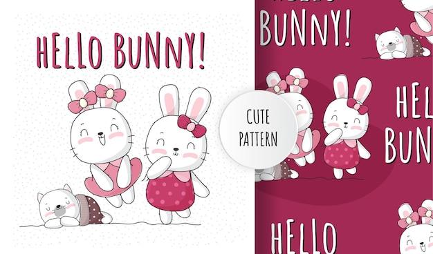 편평한 귀여운 동물 사랑스러운 토끼 패턴 세트