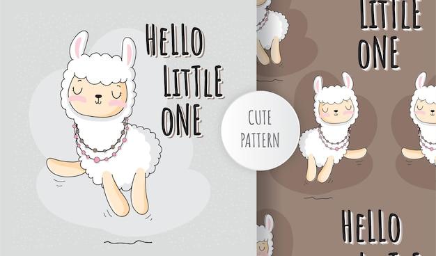 Flat cute animal no llama drama pattern set