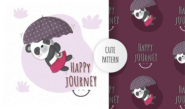 Flat cute animal panda happy flying with umbrella pattern set