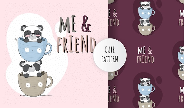 커피 컵 패턴 세트에 편평한 귀여운 동물 팬더