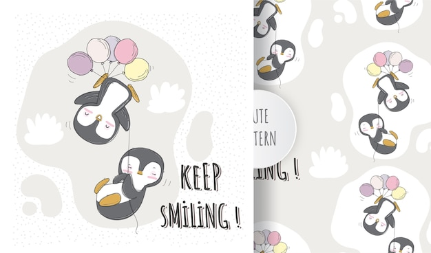 Плоский милый пингвин летающий с воздушным шаром