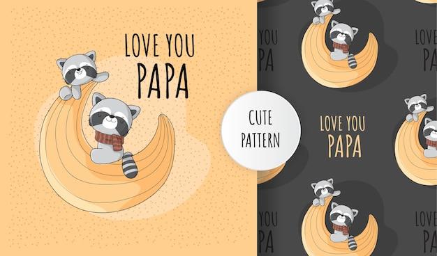 달 패턴 세트에 행복 플랫 귀여운 동물 너구리