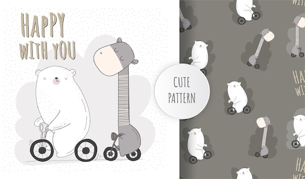 Flat cute animal riding bicycle pattern set