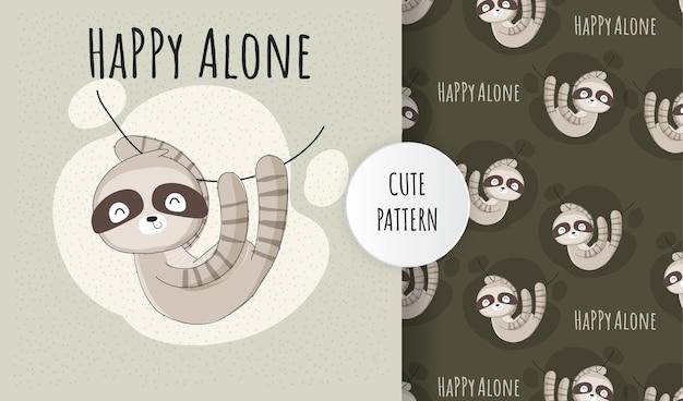 플랫 귀여운 동물 나무 늘보 행복 혼자 패턴 세트