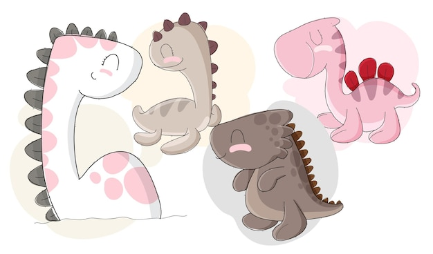 Flat cute babies dino collection pattern set