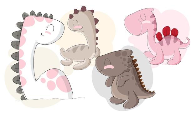 Набор плоских милых детей динозавров